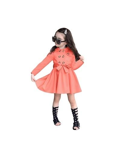 Quzucuk Kids Kız Çocuk Yavruağzı Trenç Elbise Oranj